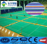 Portable used synthetic bwf approved indoor badminton flooring