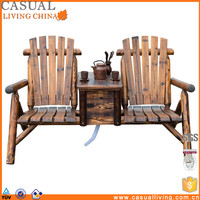 Wooden Outdoor Two Seat Adirondack Patio garden Chair with Ice Bucket Rustic Brown