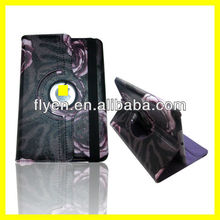 Rotating Leather Case for ipad mini Smart Cover with embossing Deluxe Leopard Rose Flower Wholesale Cheap Cases Covers Purple