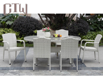 White outdoor rattan dining set wicker outdoor chairs