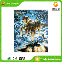 Factory supply high quality new design gift snow wolf 3d diamond painting