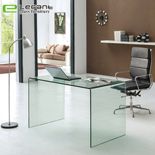 Office furniture standing U shaped transparent glass computer desk