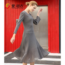 New Product High Quality Woman Clothing Long Sleeves Lady Dress Casual Wear Long Pleated Dresses