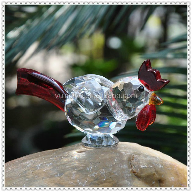 Funny Figurine Crystal Cock Animal For Festival Gifts