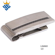Carbon fiber inlay stainless steel metal money clips with customized logo