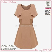 2014 winter women's clothing garment apparel direct factory OEM/ODM manufacturing modern office lady dress with cape collar
