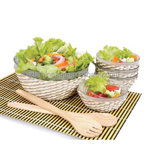 7pcs glass salad bowl with straw cover small serving bowl