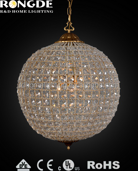 2014 popular modern silk crystal big ball chandelier with K5 for bed room