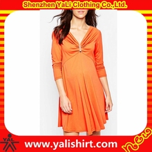 New arrival high quality cheap oversized draped neckline cotton/spandex long sleeve maternity dresses for office