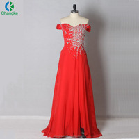 2018 new fashion design women dress red color heavy beaded off shoulder evening dress