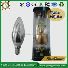 4 Years warranty! 3W 5W warm white edison CE e14 LED candle light