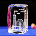 wholesale custom 3D laser engraving London Tower Bridge architectural model crystal paperweight
