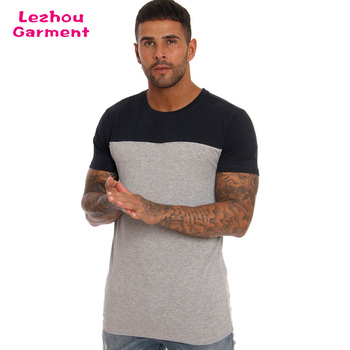 Longline men custom wholesale two tone t-shirt