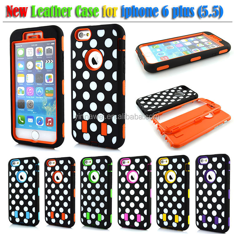 Polka Spot Dots Silicon Mobile Phone Case, Mobile Phone Combo Robot Case for Iphone 6 plus