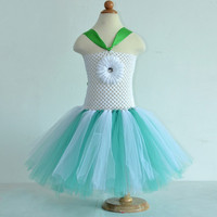 Fashion children white crochet flower top chiffon short tutu dress baby girls cute tulle tutu christmas dresses