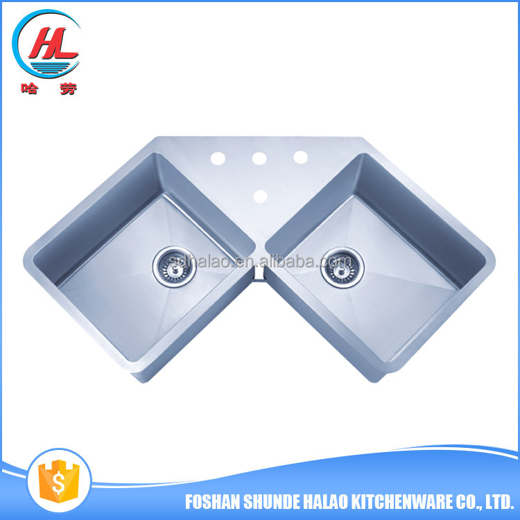 High class double bowl stainless steel hand made triangle kitchen sink butterfly kitchen corner sink