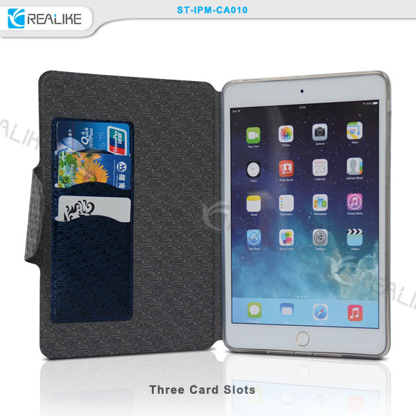 Latest design leather case for ipad mini with stand , free sample tablet pc case