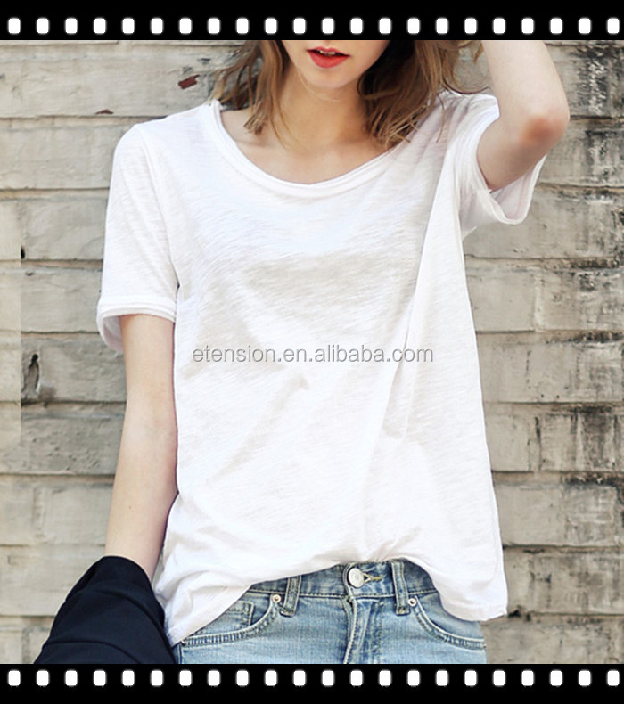 2016 ladies plain white cotton spandex t shirt buy for Cotton and elastane t shirts