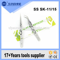 Stainless steel eyebrow tweezers with Curved tip SS SK-15