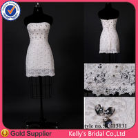 casual and sexy strapless short tight heavy beading party dress lace knee length casual wedding dress