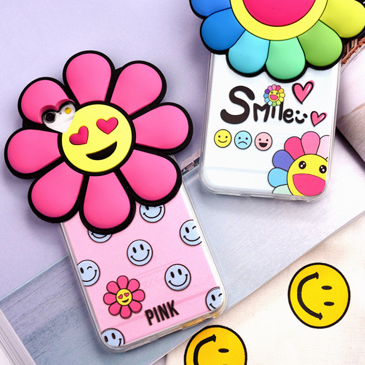 lovely 3D Sunflower Phone Case For iphone7 Case transparent cover for iPhone7 Plus 6s Plus Smiling face seven-color flower