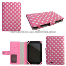 Cute PINK Polka Dots wallet Book style Leather Case for ASUS MeMO Pad HD 7 7''