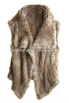 3151-NB# Rabbit Fur Knitted Vest With Wide Flap Collar OEM/ODM/QUALITY SUPPLIER