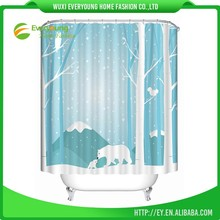 Modern Design Winter Polar Bear Polyester Shower Curtain For Hotel