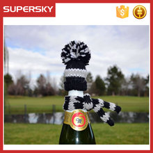 A-846 Knitting Wine Bottle Topper Hand Knitted Wine Bottle Hat Wine Bottle Wrap Cover Topper Decor