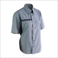 Check short sleeve collar shirt office uniform design