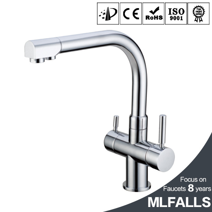 Home kitchen mixer faucet swivel spout with pure water tap double handle new