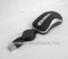 Wired small computer mouse 3D Mini Mouse with Retractable Cable
