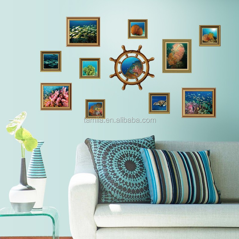 Sea Scenery Photos Frame wall sticker Home display window tv background sofa decor waterproof pvc removable wallpaper