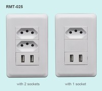 Alibaba wholesale high quality 2 USB charging ports wall socket Brazil power strip