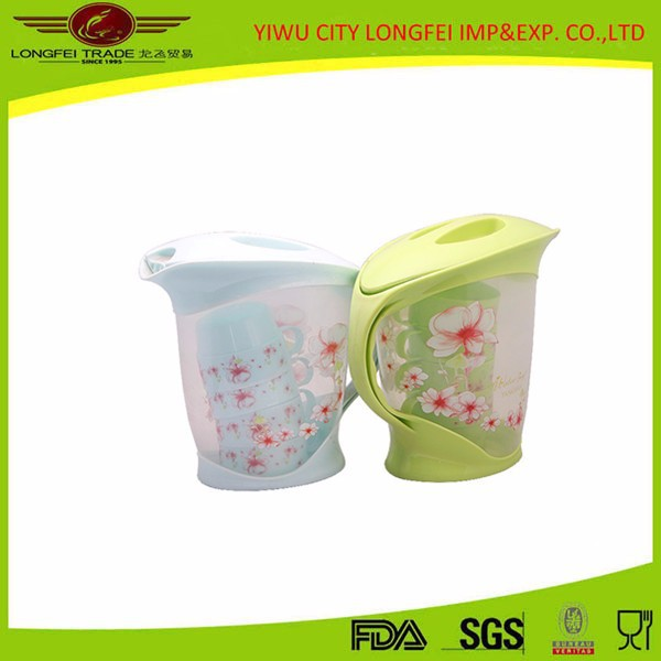 beautiful flower plastic kettle sets with one jug four cups