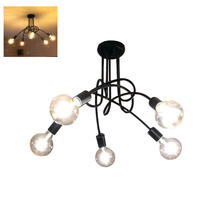 Black Chandelier Iron Pendant Lamp 5 Heads Fancy Lights for Home Decoration