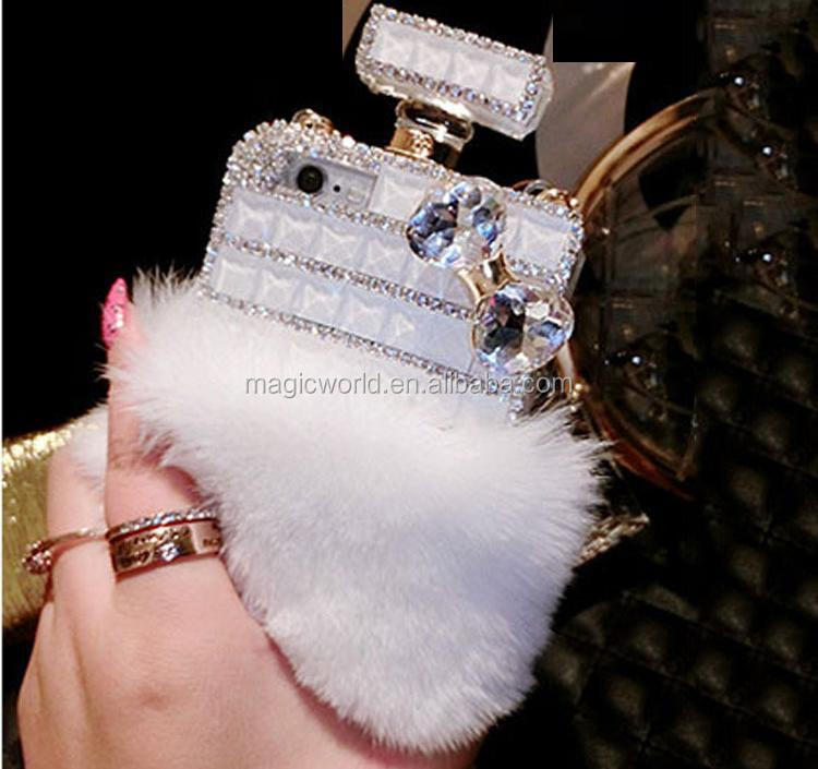 FOR IPHONE TPU FUR CRYSTAL HANDMADE CASE