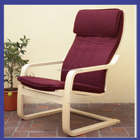popular birch bentwood armrest with cotton cushion relax chair in living room