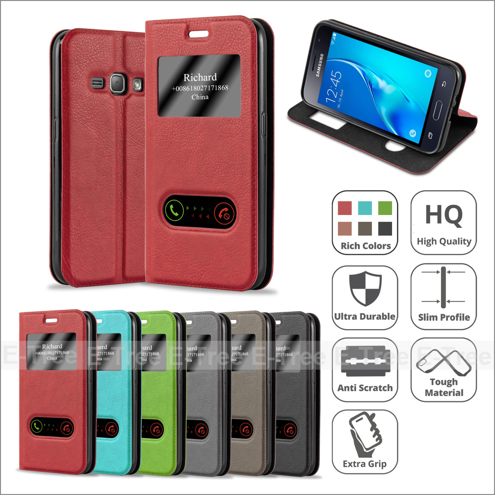 Ultra Thin Flip Cover Case Dual Window View Stand Leather Phone Case for Samsung Galaxy J1 2016