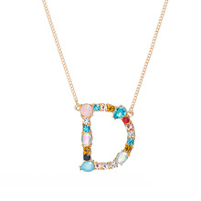 Multicolor fashion charm Gold 26 Alphabet pendant <strong>necklace</strong> micro pave zircon initial letter <strong>necklaces</strong> Couple Name <strong>necklace</strong>