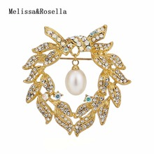 Custom Famous Pearl Jewelry Brooches and Rhinestone Pins Accessories For Bridal Wedding Decoration