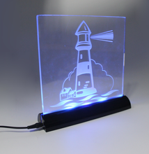 4mm thickness acrylic display with ABS plastic led light base for festivals and showcase