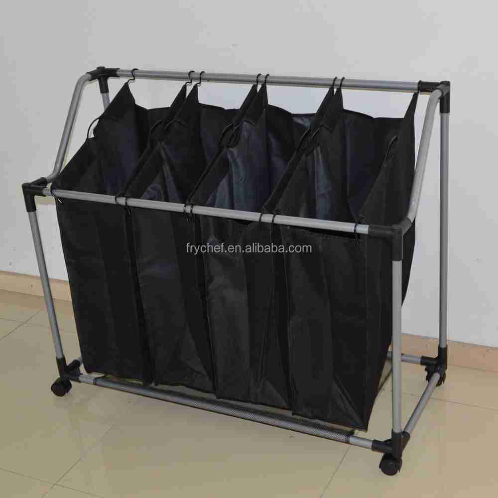 Heavy Duty Laundry Hamper Stand Rolling Laundry Sorter Cart with 4 Durable Detachable Bags, F0194