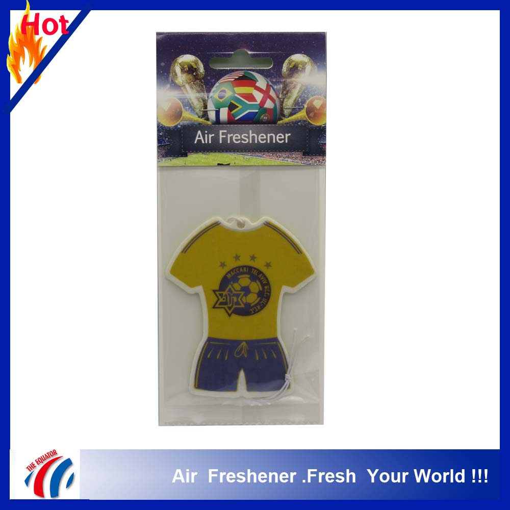 high quality customized football club design logo printed with different scents paper car air freshener