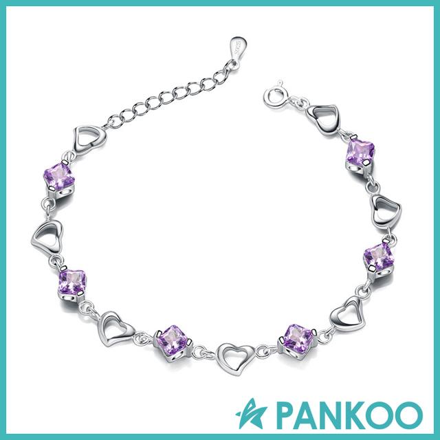 Fashionable rhodium chain jewelry silver purple gemstone bracelet