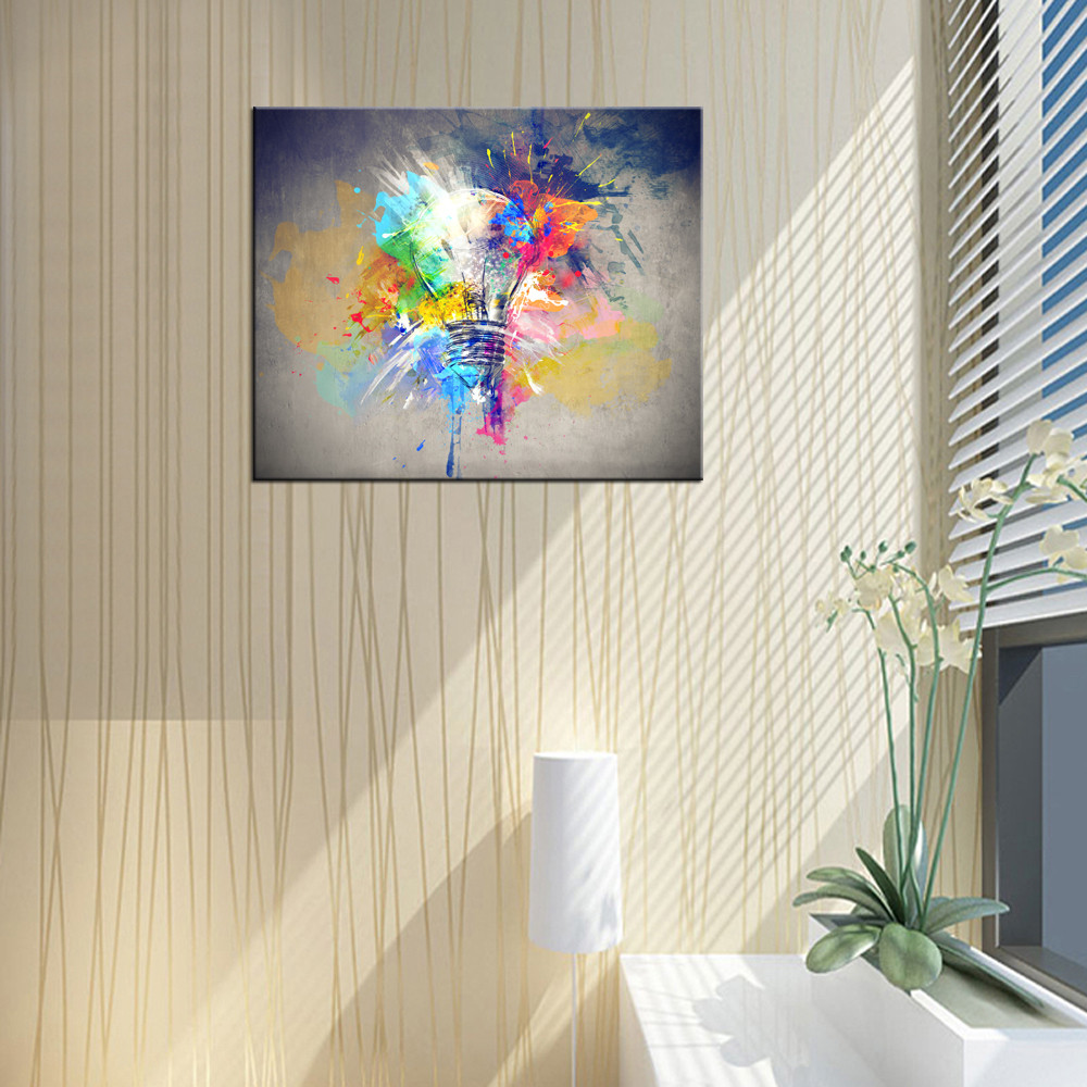Lamp Picture Giclee Print Creative Light Bulk Drawing Splash of Paint Canvas Painting Decorative Canvas Framed Art