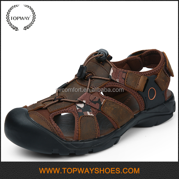 Wholesale Summer water beach leather PU closed toe <strong>sandals</strong> for men