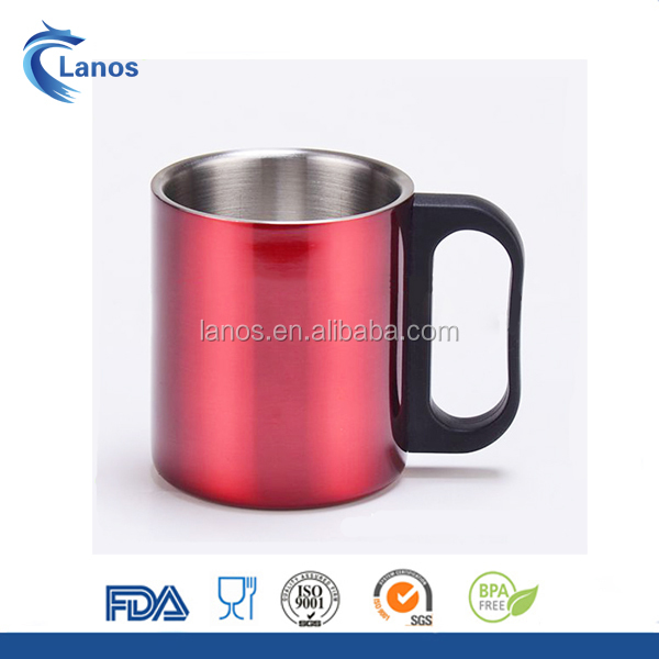 Promotional 220ml stainless steel double wall coffee mug with customized PP handle