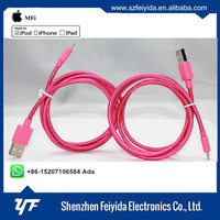 MFi certified manufacturer of aluminum braided 8pin mfi cable adapter for iphone SE