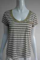 ladies short sleeve stripe shirt with pocket front